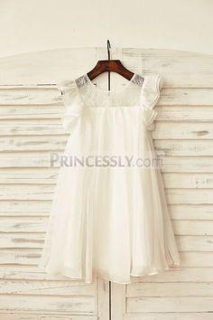Ivory Chiffon Ruffle Cap Sleeves Flower Girl Dress