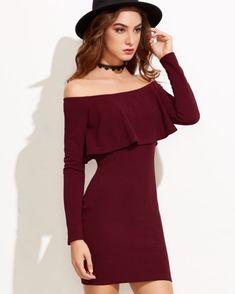 Flounce Bardot Bodycon Dress -US$20.99 -www.anabellas.co #anabellas #vestido #hombroalaire #mangalarga #vuelo #vestidoajustado