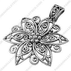 Tibetan Style Pendants, Flower, Lead Free, Nickel Free and cadmium free