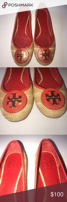 Tory Burch Reva's Straw Red Ballet Flats • Gently used • Size 7M • Box not included • Note TINY fray at the toe • Tory Burch Shoes Flats & Loafers