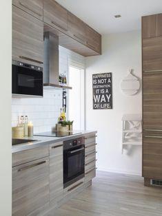 Kjøkkenet heter Sofielund og er fra Ikea. Tips: Hvis du ikke får kjøkkenmodulenetil å passe, let blant baderoms- og soveromsmodulene.
