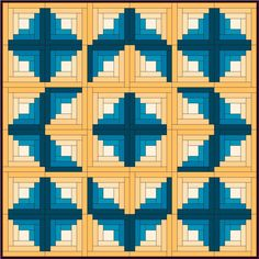 You can color the Chevron so it is split diagonally into light and dark halves like the traditional log cabin, and use the same setting variations, such as this Sunshine and Shadows. Description from piecemealquilts.com. I searched for this on bing.com/images