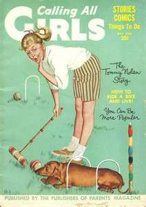 Vintage Calling All Girls magazine - Dachshund helps a girl play croquet