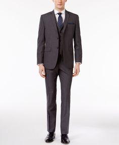 Perry Ellis Men's Slim-Fit Portfolio Gray Mini-Check Comfort Stretch Vested Suit