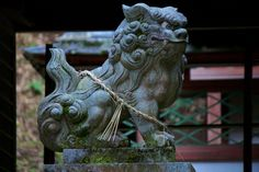 Komainu (狛犬) at the Tenjin shrine (天神神社) In Kizugawa County. 3 Point Perspective, Temple Gardens, Stone Lion, Fu Dog, Lion Dog, Stone Sculpture, Chinoiserie, Accent Pieces, Buddhism