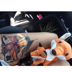 My New Fox tattoo and his New Friends :D #fox #foxtattoo #foxtattoos #foxtattooed #tattoo #tattoos #tattooed #tattooedgirl #tattooedgirls #tattooedwomen #stuffedanimal #stuffedanimals #love