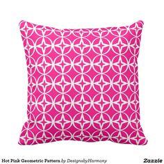 Hot Pink Geometric Pattern Throw Pillow