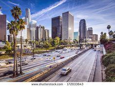 Los Angeles, California, USA downtown cityscape. - stock photo