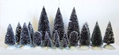 Lemax Lot of 20 Snow Frosted Trees All Different Sizes (T1#4) LN NM EX