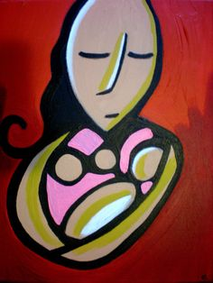 acrylic painting of a mother and her baby by canvaschild on Etsy, $60.00