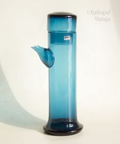 BERTIL VALLIEN Blue Series for Kosta BODA Swedish Art Glass Carafe FREE UK P&P #KostaBoda #MidCenturyModern