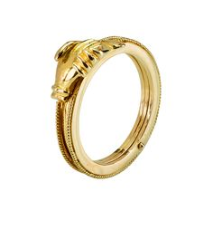 The Maninfide ring is originally a Sardinian ring worn by married or engaged women, typically engraved with two symbolic linked hands. KOKKU have uniquely modernised the Maninfide ring in an exquisite design, comprising of three interlocking 18k gold rings. The clasped hands open to reveal a heart with diamond, promising a faithful union.