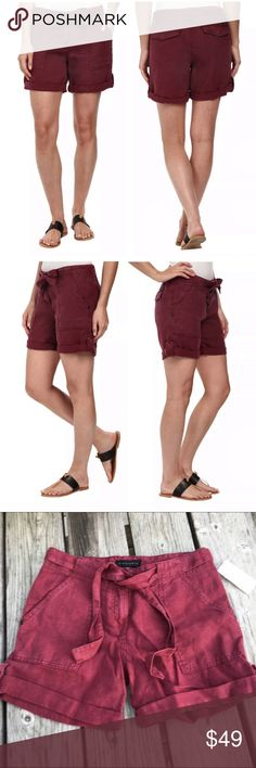 List! Sanctuary Burgundy Linen Shorts! NWT! Adorable cuffed and belted shorts! % linen. Size 25. Sanctuary is sold at Anthropologie. Anthropologie Shorts