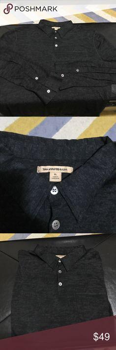John Varvatos long sleeve polo XL Amazing soft John Varvatos long sleeve Polo.  Black Grey color.  Super Thin, see pics. John Varvatos Shirts Casual Button Down Shirts
