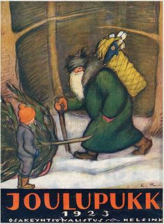 Nordic Thoughts: Father Christmas and his birch bark backpack. Vintage Santas, Vintage Christmas, Father Christmas, Christmas Cards, Yule Goat, Norway Christmas, Retro Images, Birch Bark, Winter Solstice
