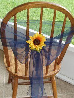 New wedding sunflower centerpieces navy blue Ideas Sunflower Colors, Sunflower Party, Chair Bows, Chair Sashes, Sunflower Wedding Decorations, Wedding Flowers, Sunflower Centerpieces, Sunflower Weddings, Navy Centerpieces
