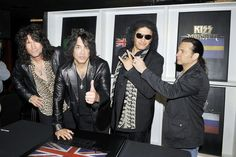"""KISS: Tommy Thayer,Paul Stanley, Gene Simmons and Eric Singer  at the """"KISS Monster"""" book signing in London"""