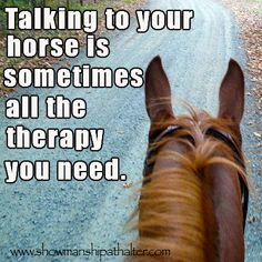 Talking to your horse is sometimes all the therapy you need. I miss my horse Drew. Cowgirl And Horse, My Horse, Horse Love, Horse Girl, Cowgirl Quote, Horse Riding, Trail Riding, Inspirational Horse Quotes, Uplifting Quotes