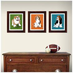 dog wall art for kids Boston Terrier chevron childrens art prints -  8x10 dog print -  custom colors boys room kids nursery decor. $18.00, via Etsy.