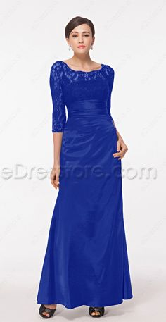 Royal blue modest mother of the bride dress with sleeves plus size mother of the groom dresses scoop neckline lace formal dresses long