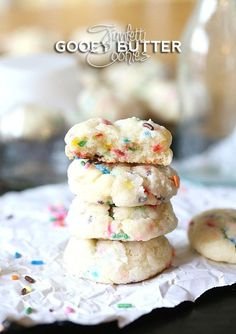 Funfetti Gooey Butter Cookies ~ Such a fun simple cookie made with butter, cream cheese and Funfetti Cake Mix! SO SOFT and sweet!