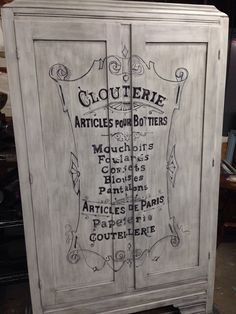 Vintage Armoire, antique white General Finishes milk paint, ebony wax & Frenvh Typography .