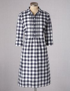 Boden Women's Brand New Gingham Shirt Dress - RRP £59 - Navy Gingham | eBay