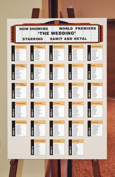 Seating Plan board for a Movie night themed Wedding reception. See more at Facebook.com/dovesandpeacocks