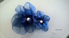 fleurs organza bleu - DIY