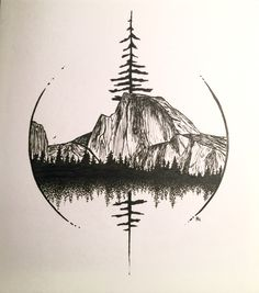 Half Dome in Yosemite art by Robin Halmhofer (Cool Sketches Dibujo)