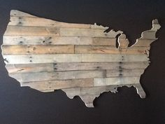 Reclaimed Pallet Wood Art -- USA silhouette