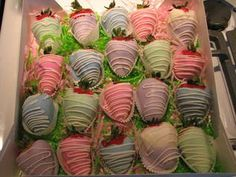 Chocolate Covered Strawberries for Easter...pastel strawberries that look like Easter eggs. So cute! Will I take the time to do this? Hmmm.