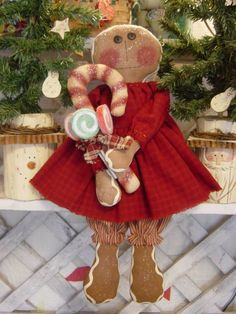 Gingerbread Girl Sugar Plum and Candy Cane Raggedy Doll Pattern 16 $6.00