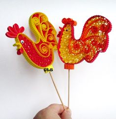 Quilling rooster