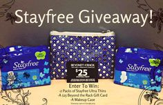 The Happy Sloths: Giveaway: Enter to win a Stayfree Gift Set!  http://www.thehappysloths.com/2014/06/stayfree-ultra-thin-giveaway-beyond-the-rack-gift-card-makeup-bag.html