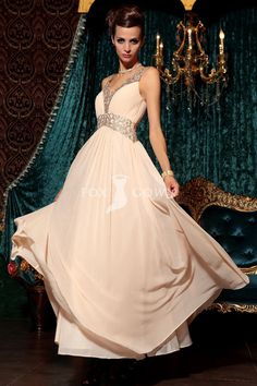ivory sheath floor length sleeveless empire embroidered flowers pleated chiffon prom dress