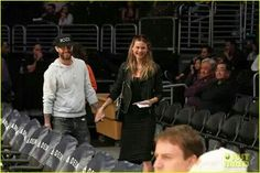 Adam and Behati at a recent Lakers game