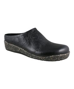 Look what I found on #zulily! Black Tooled Alex Leather Clog by Elites by Walking Cradles #zulilyfinds