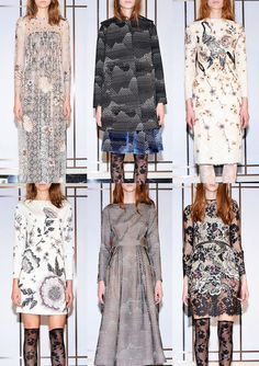 Huishan Zhang A/W 2014/15-Beautiful Oversized Blooms – Polka Dot Expression – Oriental Inspired Florals –  Stork Motifs – Subtle Color Combinations – Embellished Floral Pattern – Dark Floral Silhouette Effects – Lace Layered Pattern