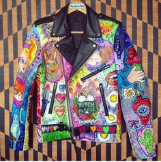 Image result for hand painted leather jacket