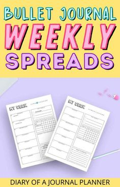 25 stunning bullet journal weekly spreads to inspire you, plus a bujo printable! #bulletjournl #weeklyspread #bujo Bullet Journal Printables, Bullet Journal Layout, Bullet Journal Inspiration, Weekly Planner Template, Printable Planner, Journal Quotes, Weekly Spread, Templates Printable Free, Spreads