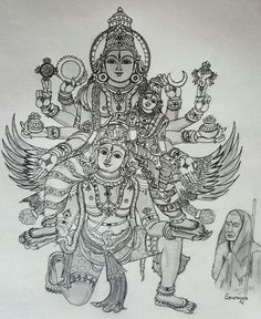 Jaya Jaya Sankara Hara Hara Sankara - After a break Smt. Sowmya is back with an exquisite sketch for this auspicious Vaikunta Ekadasi. As always attention to detail, feel Gaudazhwar is very charming :-) holding Bhagawan's divine feet in his hands. Mysore Painting, Kerala Mural Painting, Tanjore Painting, Krishna Painting, Indian Art Paintings, Krishna Art, Indian Drawing, Doodle Art Drawing, Lord Vishnu Wallpapers