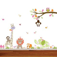 Vinyl Wall Decal Jungle Branch Set with Giraffe, Lion, Elephant, Fox, Monkeys and Birds.          { Decal Kit Includes }    * Branch  * Swinging