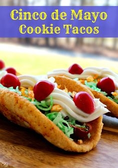 Dessert Taco Cookies for Cinco de Mayo. Celebrate Cinco de Mayo with these spicy cookie dessert tacos! http://scrappygeek.com/cinco-de-mayo-cookie-tacos-recipe/