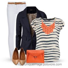 orange chunky necklace with a navy/white striped shirt - love this color combo