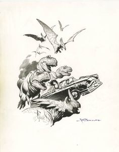 Mark Schultz Xenozoic Speciality Piece Comic Art