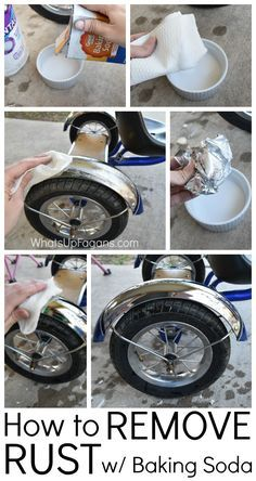 DIY Tutorial on removing rust from a tricycle: a paste of baking soda/H20, or with vinegar and a crumpled up piece of foil.