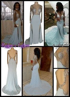 Powder blue and silver matric dance dress with a double slit and an illusion bodice and sleeves with a rounded back and a train. Matric Dance Dresses, Prom Dresses, Formal Dresses, Wedding Dresses, Powder Blue Dress, Prom Dance, Blue And Silver, Dress Making, Illusion