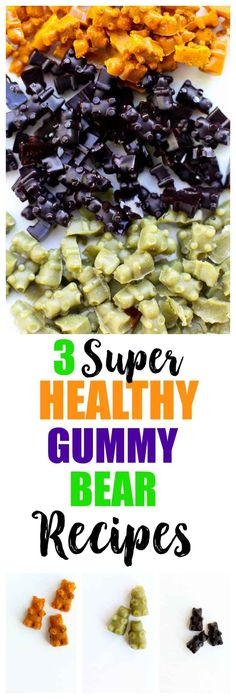 3 healthy homemade gummy bear recipes. These gummies are made with grass-fed gelatin and are great health boosters! Vegan Gummy Bears, Sugar Free Gummy Bears, Sugar Free Jello, Homemade Gummy Bears, Homemade Gummies, Homemade Baby Foods, Healthy Sugar, Healthy Snacks, Healthy Recipes