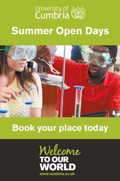 Science, maths and technology courses at University of Cumbria - http://www.cumbria.ac.uk/study/open-days/